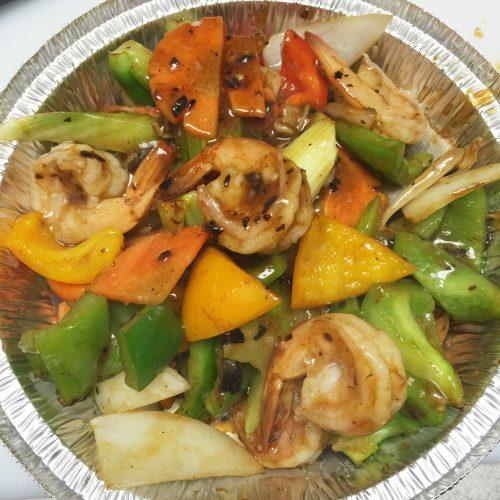 Shrimp with Green Pepper in Blackbean Garlic Sauce